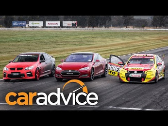 Tesla Model S vs Holden V8 Supercar vs Walkinshaw HSV GTS Drag Race